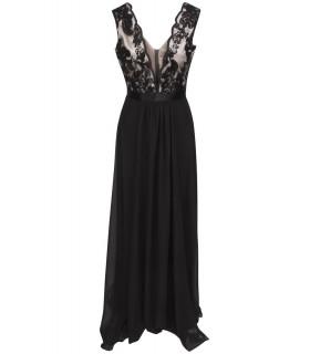 Goddess - Lang kjole med nude stof