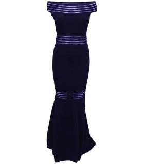 Quiz navy kjole med gennemsigtige striber
