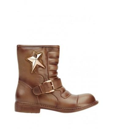 Kort brun støvle med stjerne