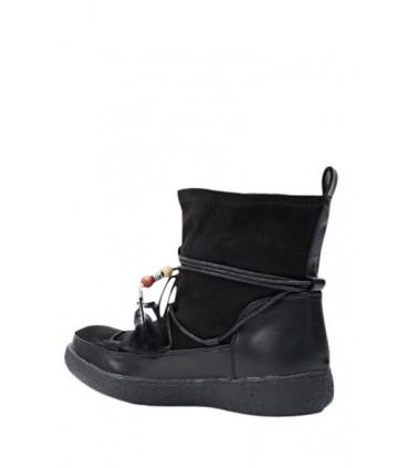 Sort mokkasin støvle med glimmer