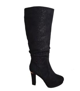 Luxstore sort støvle med sten