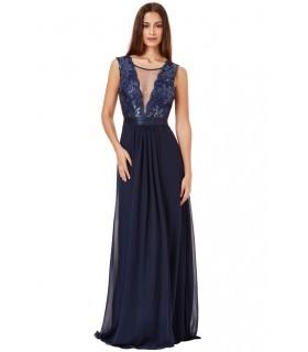 Quiz lang navy blå kjole