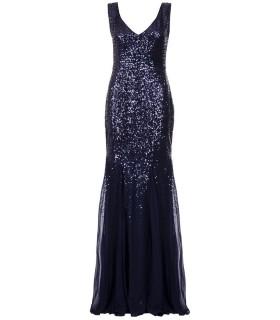 Goddess lang blå chiffon kjole