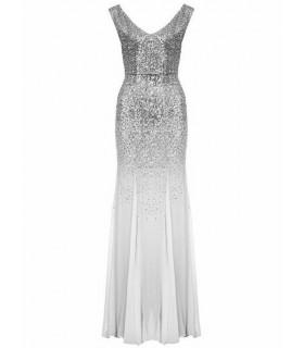 Goddess sølvgrå chiffon kjole
