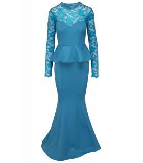 Goddess lang peplum kjole