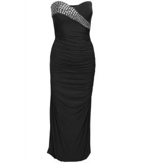 Goddess lang kjole med perler