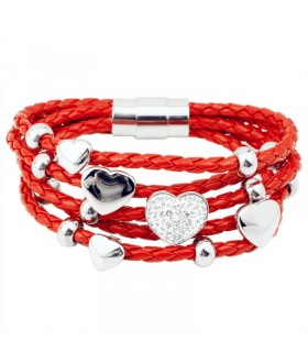 Luxstore hjerte armbånd rød