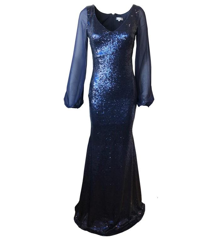 bbbe39cfee6 Goddess navy paillet kjole med ærmer - 899,00 kr