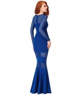 Goddess blå langærmet kjole med gennemsigtige striber