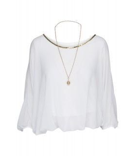 Paris Fashion hvid bluse med kæde
