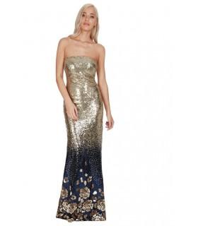 Goddess navy og guld pailletkjole