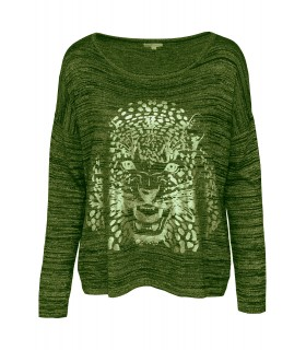 Paris Fashion Classic Tricot grøn bluse med tiger
