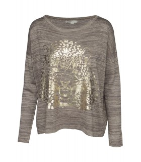 Paris Fashion Classic Tricot brun bluse med tiger