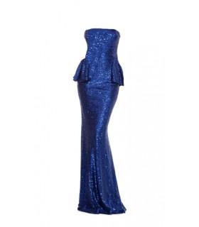 Goddess lang blå paillet peplum kjole