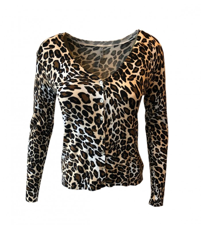Paris Fashion C.M.P 55 leopard lys cardigan