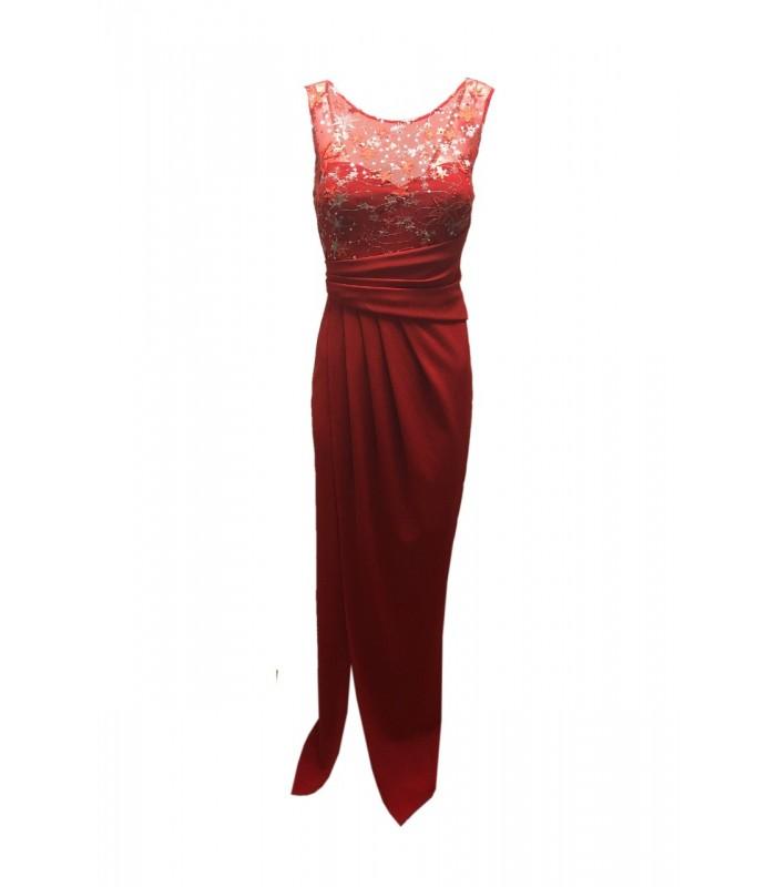 46208da0 Lang rød kjole med stjerner - 449,00 kr