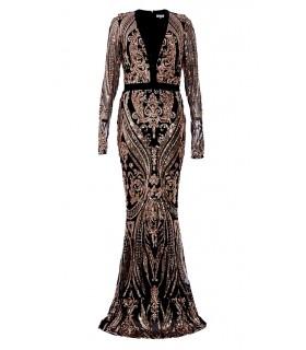 Goddess sort og rose guld paillet kjole