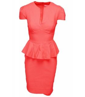 Goddess coral peplum kjole
