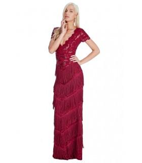 Goddess vinrød charleston gatsby kjole