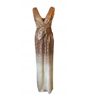 Goddess guld kjole med bælte