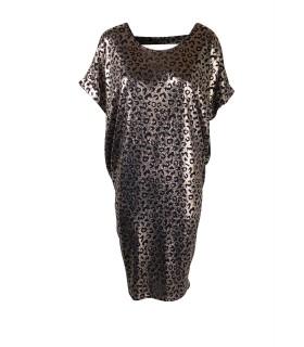 Paris Fashion rosa guld leopard oversize kjole