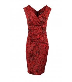 Goddess rød lepard midi kjole