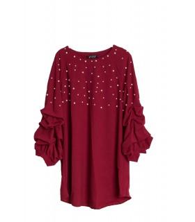 Paris Fashion bordeaux kjole med perler