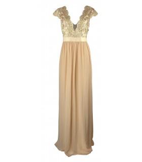 Goddess guld kjole med små ærmer