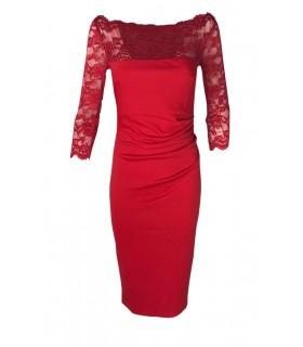 Goddess rød midikjole med rød blonde overdel