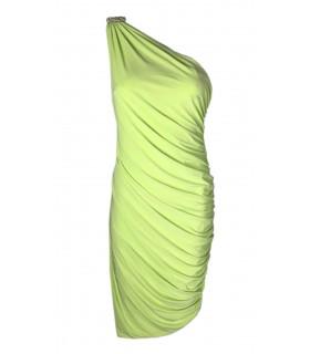 Goddess oneshoulder kjole lime