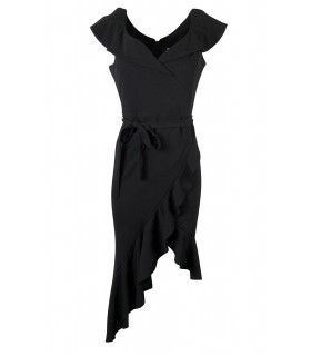 Goddess sort asymmetrisk kjole med flæse