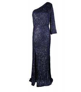 Lucy Wang navyblå oneshoulder kjole