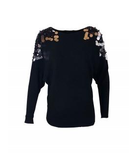 Paris Fashion Voyelles sort bluse med pailletter