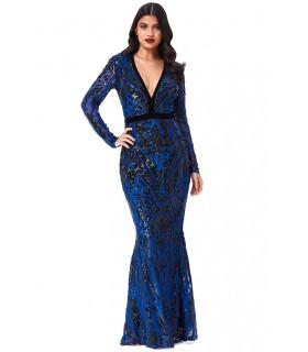 Goddess sort og kongeblå kjole med ærmer