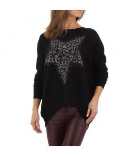Paris Fashion sort bluse med stjerne
