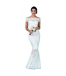 Goddiva hvid offshoulder kjole