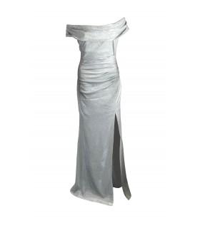Goddiva sølvfarvet offshoulder kjole