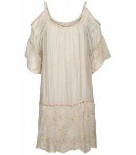 Luxstore sandfarvet cold shoulder silkekjole