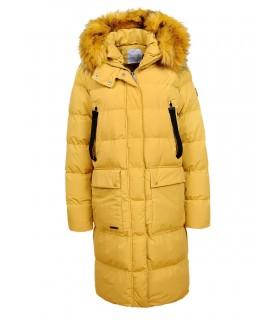 Glo Story gul jakke med fake fur pels