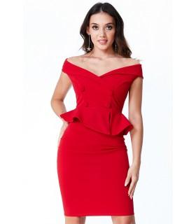 City Goddess rød offshoulder cocktailkjole med knap