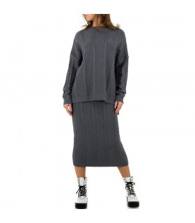 JCL sæt med midi nederdel grå