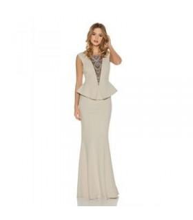 Quiz lang peplum kjole beige