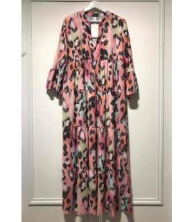 Lang kjole med mønster fuschia