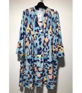 Kort tunikakjole med mønster blå