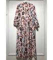 Lang kjole med mønster lyserød