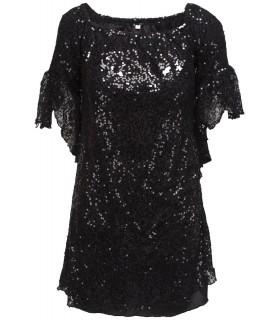 Goddess paillet kjole med ærme