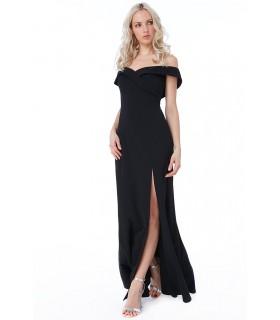 Goddiva sort offshoulder kjole med slids
