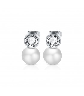 Aqua Dulce Ørering med krystal og perle sølv