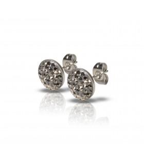 Luxstore lille flad krystal stålørestik grå