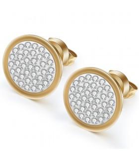 Aqua Dulce rund ørestik med små krystaller guld